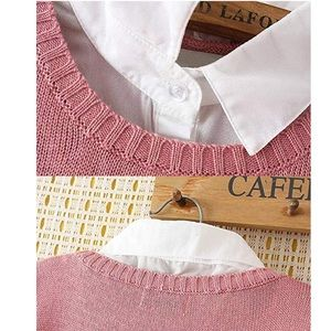 Tops - Luxury Pan Collar Knitted Sweatshirt Pullover
